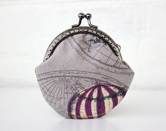 Air Balloon Coin Purse, Metal frame change purse, Coin Pouch, Wallet, Change purse, Coin Purse Clasp, Girlfriend Gift, Mom Daughter Gift
