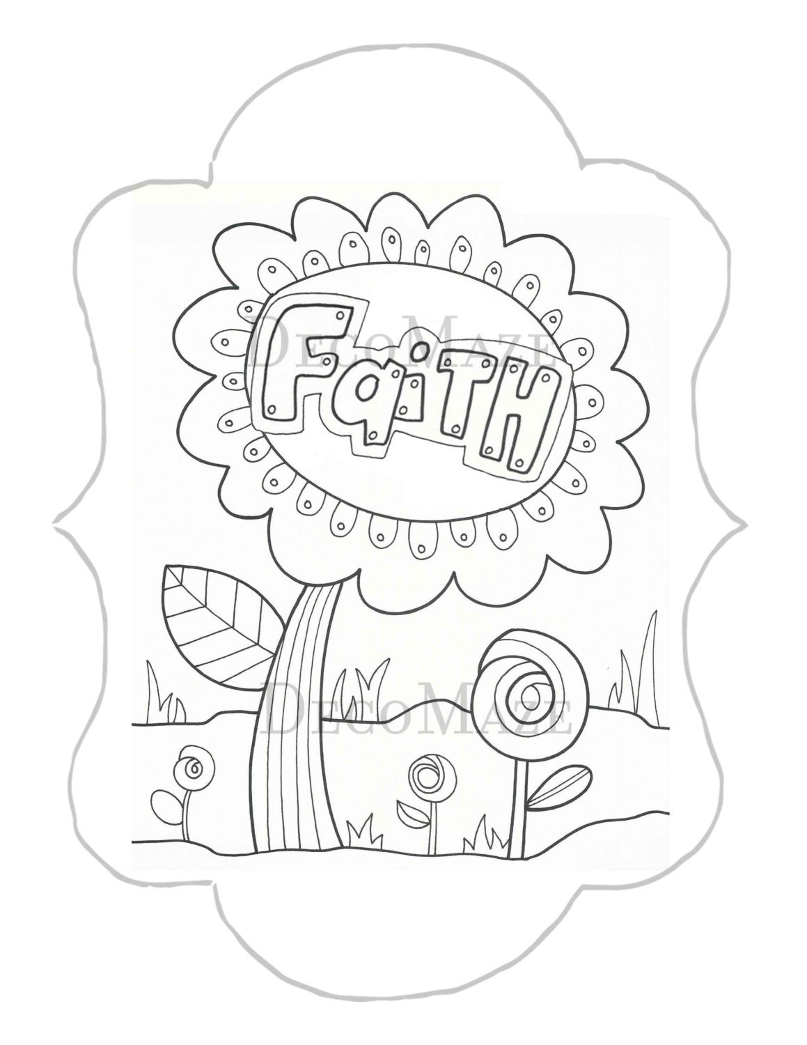 Faith Coloring Page Flower Coloring Page Adult Kids By