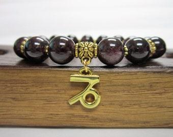 Capricorn Bracelet, Capricorn Zodiac Yoga Bracelet, Capricorn Gemstone Bracelet, Capricorn Garnet January Bracelet, Capricorn Yoga Bracelet