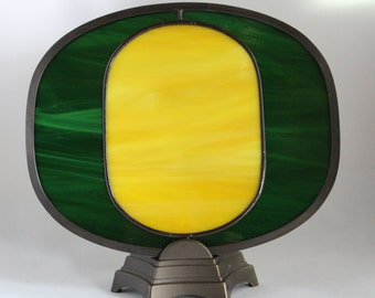 University of Oregon--Stained glass fan lamp