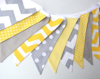 Nursery decor, yellow and grey, chevron, spots, baby shower decor, fabric bunting, photo prop, first birthday decorations, baby bunting