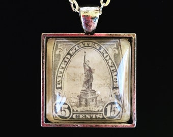 Lady Liberty Postage Stamp Necklace