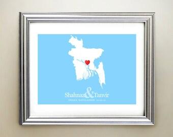 Bangladesh Custom Horizontal Heart Map Art - Personalized names, wedding gift, engagement, anniversary date