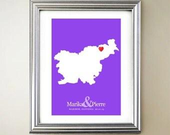 Slovenia Custom Vertical Heart Map Art - Personalized names, wedding gift, engagement, anniversary date
