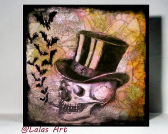Vintage Style Painting Drawing Smoking Skull Hat Bats Unique Art Illustration Interior Design Halloween Creepy Home
