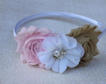 Light pink and khaki headbands, pale pink flower girl headbands, satin headbands, toddler headband, pink and white headbands, khaki flowers