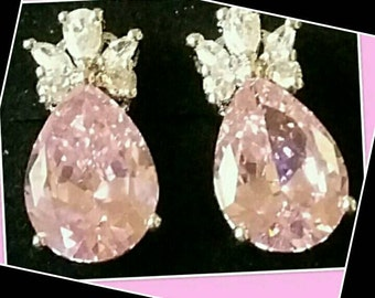 Pink Kunzite Stone and White CZ 925SS sterling silver stud earrings. Vintage never used.
