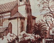 Souvenir teatowel Tasmania Australia vintage polish linen with pictures of iconic locations in Launceston and Hobart
