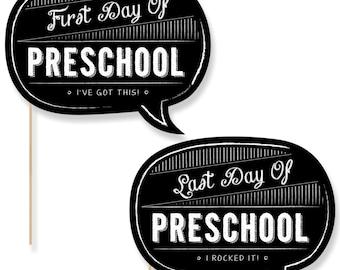Preschool First Day & Last Day of School Photo Props - Preschool Photo Booth - Back to School Photo Prop - 2 Talk Bubbles