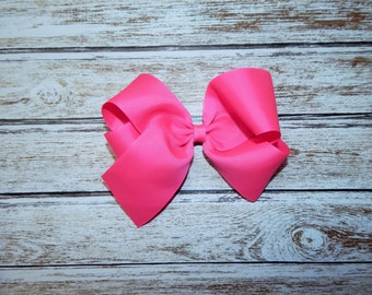 Pink Hairbow; Flourescent pink Hairbow; Girl's hairbow