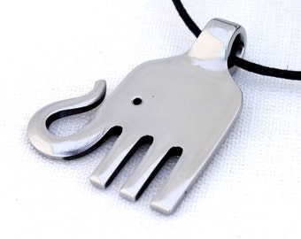 Cute Upcycled Silverware Fork Art Elephant Pendant -- Free Shipping
