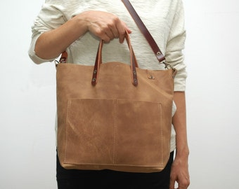 Leather tote  bag ,camel distressed color,coñag handles