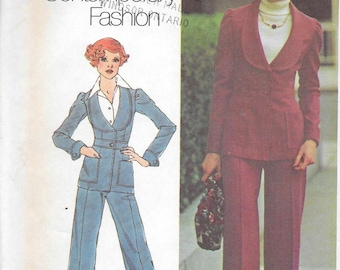 Vintage 1970s Simplicity Sewing Pattern 6602- Misses' Unlined Jacket and Pants size 10 bust 32 1/2 uncut FF