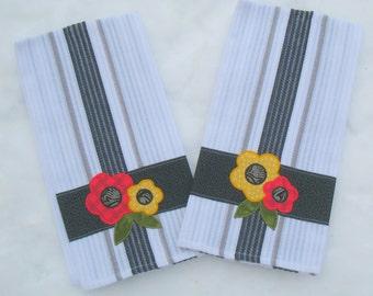 Floral Appliqued Tea Towels