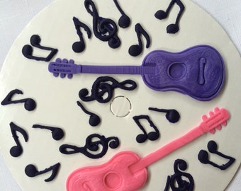 Guitar Musical Notes cake topper 14pcs edible fondant ideal