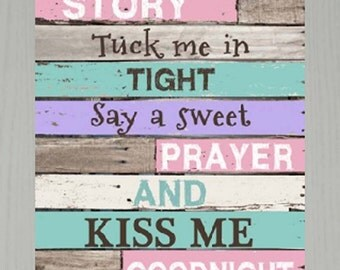 """Read Me A Story Tuck Me In Tight Prayer Kiss Goodnight Nursery Child Decor Framed Art Picture 13x16"""""""