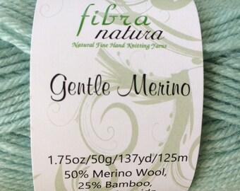 Merino Wool Yarn Blend, Bamboo Yarn, Gentle Merino by Fibra Natura, Hand Knitting Yarn, Solid Color, Baby Weight Yarn, Blue/Mint Green