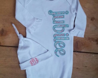 Personalized White Ruffle Gown for Baby Girl With Appliqued Name in MInt and Coral Coming Home outfit