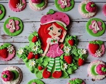 Edible fondant 12 piece dozen Strawberry shortcake Birthday cupcake topper set