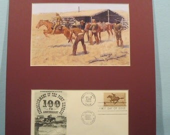 Federic Remington's painting honoring the Pony Express & First day Cover of the Pony Express stamp