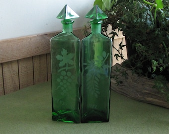 Vintage Green Vinegar and Oil Bottles Etched Jars Triangular Condiment and Salad Dressing