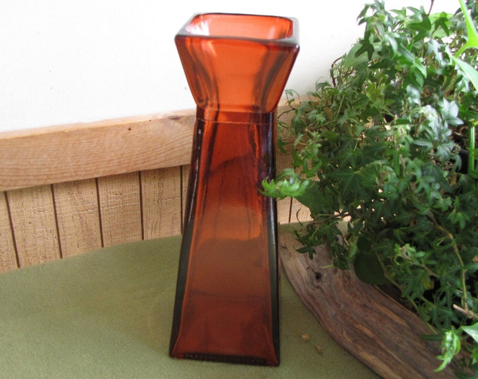 Square Orange Vase Tall Vintage  Florist Ware Geometric Flower Vase