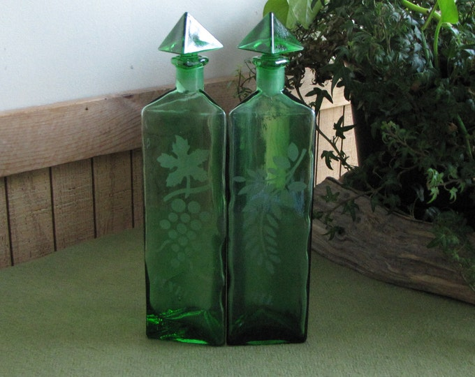 Vintage Green Vinegar and Oil Bottles Etched Jars Triangular Condiment Salad Dressing Emerald