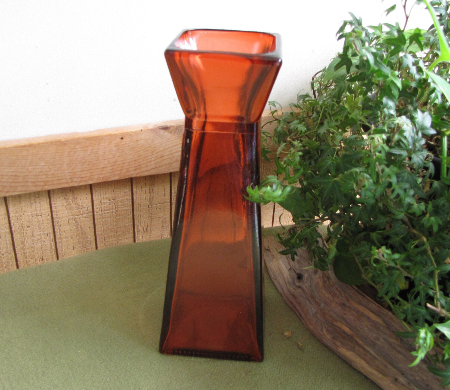 Square orange vase tall florist ware geometric flame colored