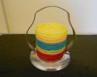Vintage Coasters in Holder
