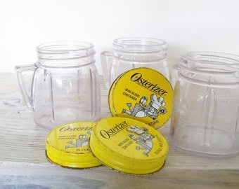 Vintage  Oster Jars Osterizer Plastic Mini Blend and Store 4 oz Containers 1960s 3 Jars