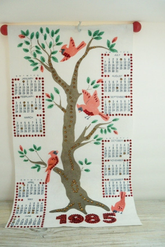 Vintage 1985 Wall Calendar - Cardinals and Tree - Hanging Calendar - Felt with Red Sequins - Handmade - Assembled from Kit - Red Wood Dowel