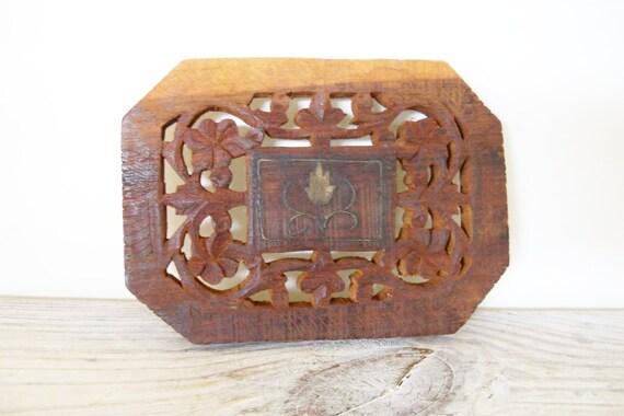 Vintage Wooden Teak Trivet Hand Carved Made In India Oblong with Gold Leaf in the Center 1970s