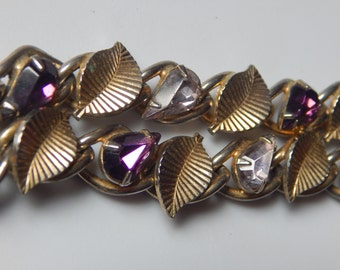 Vintage Coro Bracelet Purple Rhinestone Vingate Coro Pegasus Bracelet