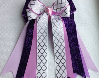 Equestrian Horse Show Hair Bows/Purple Sparkle White Silver