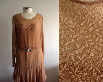 1920s Dress / 20s Silk Dress / Dusty Rose / Illusion Lace / SMALL