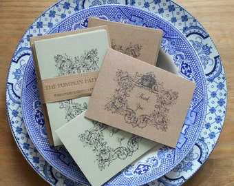 Mini Thank You Cards with envelopes -rustic gift cards thank you notes Mini cards 10 pkVintage style rustic Victorian Recycled kraft