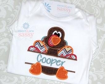 Boys Turkey Applique Shirt - Thanksgiving - Fall - Personalized