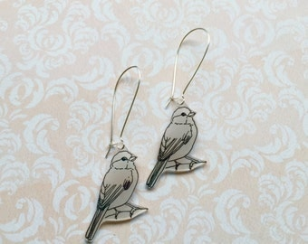 Hand Drawn Bird, Shrink Plastic Earrings with Fish or Kidney Hook - Ready to Ship