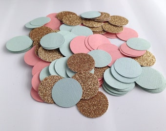 Gold glitter, green mint, & coral/peach circle confetti, baby shower bridal shower birthday party wedding
