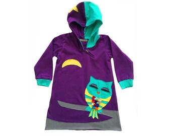Sleepy Owl Hoodie Dress in Purple & Teal