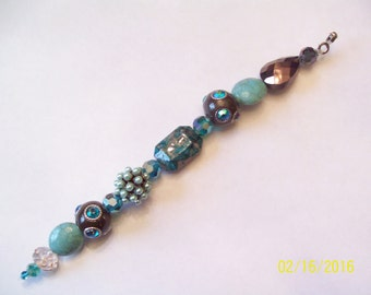 Hand Beaded Ceiling Fan Pull Light Pull Turquoise and Brown
