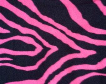 Remnant - Zebra Print Hot Pink Fleece Fabric 1yd 18in