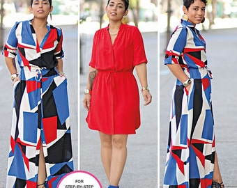 Simplicity Sewing Pattern 8084 Misses' and Miss Plus' Shirt Dress in Two Lengths
