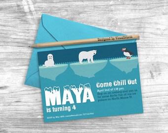 Arctic Animals Birthday Invitation Printable Antarctic Animals Invitation Holiday Winter Invitation Polar Bear Puffin Arctic Seal Icebergs