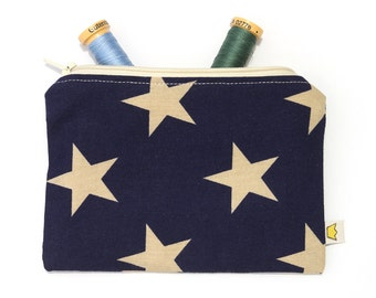 Star cosmetic pouch, zipper pouch, navy blue pencil case