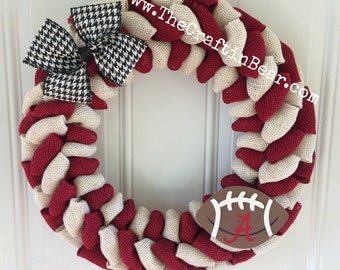 University of Alabama burlap wreath  - Roll Tide Roll decor - Alabama wreath - Bama wreath - Roll tide - University of Alabama wreath