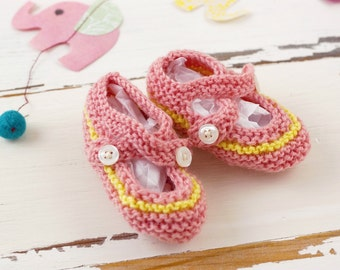 cutest baby booties // hand-knit // pink with yellow stripe
