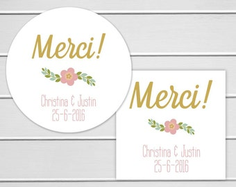 Merci Stickers, Personalized Thank You Wedding Stickers, Merci Labels, Envelope Seals  (#269)
