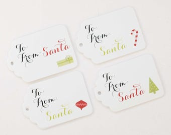 Christmas Tags, 24 Christmas Tags, Santa Christmas Gift Tags (ST-112)