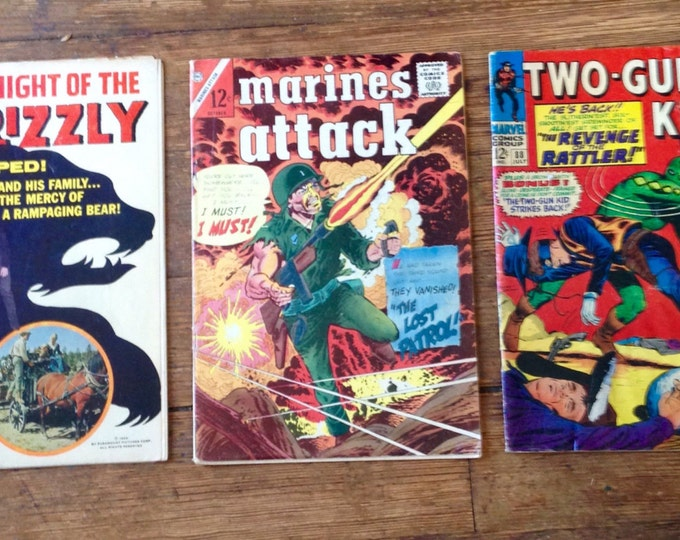 Low Condition, Silver Age Comic Book Lot; Two-Gun Kid, Marines Attack, Night of the Grizzly. 1965 - 1967. Dell, Charlton, Marvel Comics